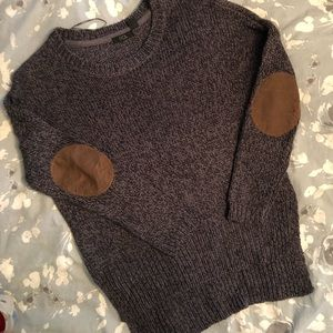 Gray Sweater With Brown Leather Elbows